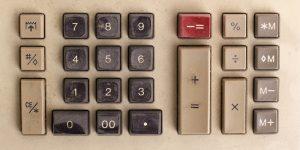 Old analog calculator keys.