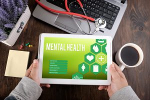 mental health screen on tablet