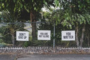 Suicide prevention signs.