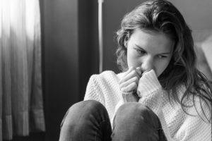 Sad anxious teen girl.